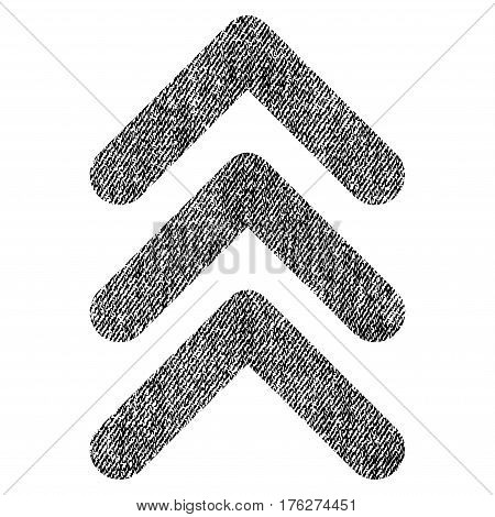 Triple Arrowhead Up vector textured icon for overlay watermark stamps. Fabric black vectorized texture. Symbol with dirty design. Rubber seal stamp with fiber textile structure.