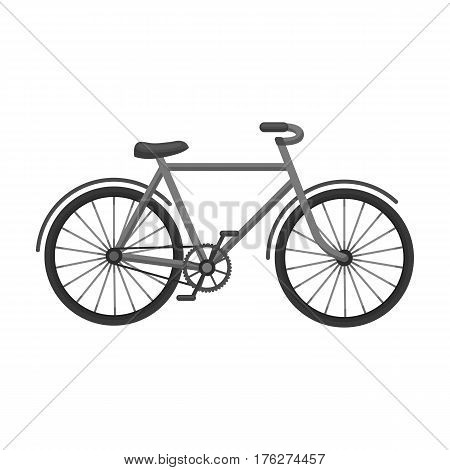 Walking bicycle with large shields and curves driving. Economical transport.Different Bicycle single icon in monochrome style vector symbol stock web illustration.