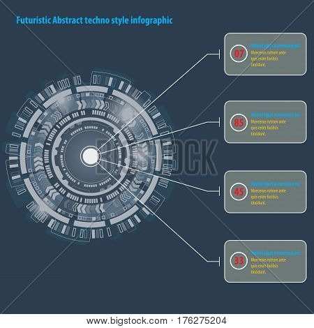 Infographic with Futuristic graphic user interface. Abstract techno circle.