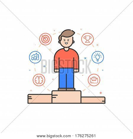 Vector illustration in flat bold linear style with boy and color icons. Concept of business competition winner - man standing on the podium on the first place - career achievement Outline stock object