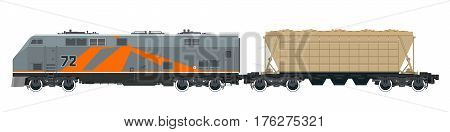 Orange Locomotive with Hopper Car for Transportation Freights , Train Isolated on White Background, Railway and Cargo Transport, Vector Illustration
