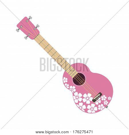 Pink ukulele isolated on white fine performance stringed folk guitar music art instrument and concert musical orchestra string fiddle hawaiian vector illustration. Fretboard entertainment tool.