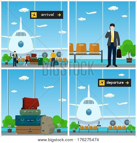 Airport , Waiting Room with a Woman and Men , View on Airplane through the Window , Luggage Bags for Traveling, Scoreboard Arrival and Departure , Travel and Tourism Concept, Vector Illustration