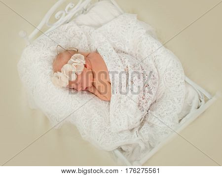 Newborn girl sleeping on the tummy to decorative crib. Portrait of a sleeping newborn girl with floral bandage on his head covered with delicate tippet. Top view