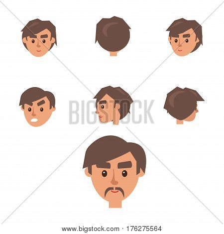 Man Constructor. Seven humans heads from different angles of view with different emotions and one with mustache isolated on white background. Vector illustration of happy and angry emotions.