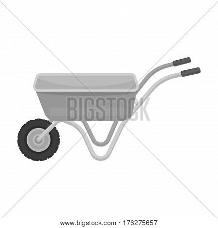 Hand truck with one wheel. Wheelbarrow for the transportation of goods around the garden.Farm and gardening single icon in monochrome style vector symbol stock web illustration.