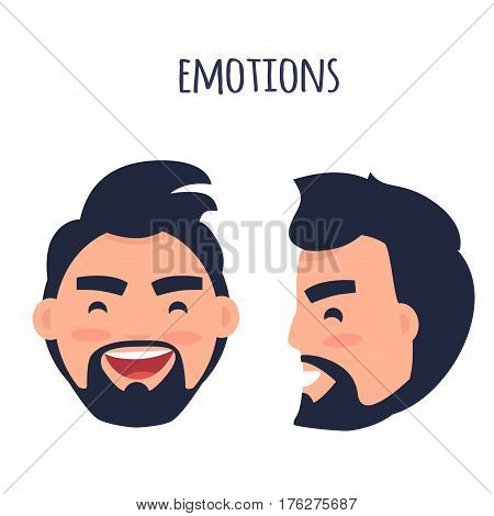 Men Emotions. Man with beard and pink cheeks laughing with open mouth. Face from two different angles of view isolated on white background. Cartoon happy male character vector illustration.