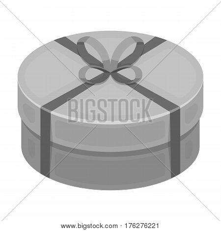 Round green gift with a red ribbon. A box for a cake.Gifts and Certificates single icon in monochrome style vector symbol stock web illustration.