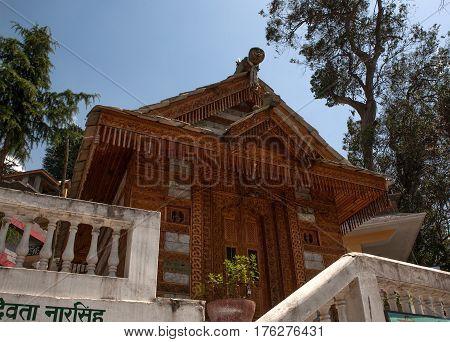MANALI, INDIA. Wooden ancient Hindu Temple Jagtipath. Naggar, district of Kullu in Himachal Pradesh, India.
