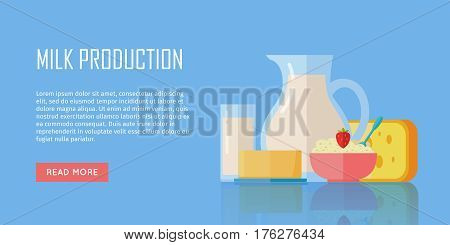 Milk production banner. Different traditional dairy products from milk on blue background. Milk, curd, cheese and yogurt. Assortment of dairy products. Farm food. Dairy website template.