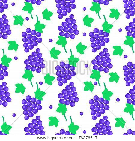 Seamless pattern with blue grapes bundles and green leaves.Tasty juicy grape bunches endless texture with fruits a isolated on white. For kitchen wallpaper, wrapping paper or fabric for children