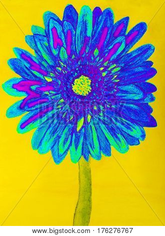 blue gervera flower on yellow background painting in watercolours