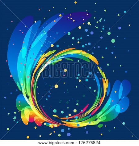 Multicolored round abstract element on blue background