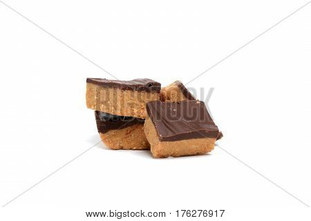 pieces of peanut butter fudge white background