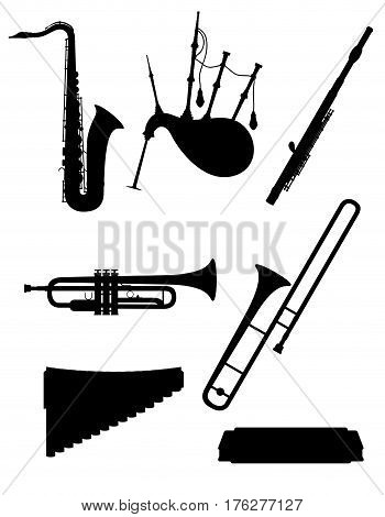 wind musical instruments set icons black outline silhouette stock vector illustration isolated on white background