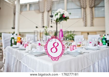 Wedding Guest Number Of Table 8 At Wedding Hall.