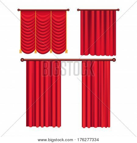 Scarlet pompous curtains collection on white. Vector poster in flat style of pelmets and curtains hanging on special curtain cornices. Set of colorful blind element for windows to protect sunshine