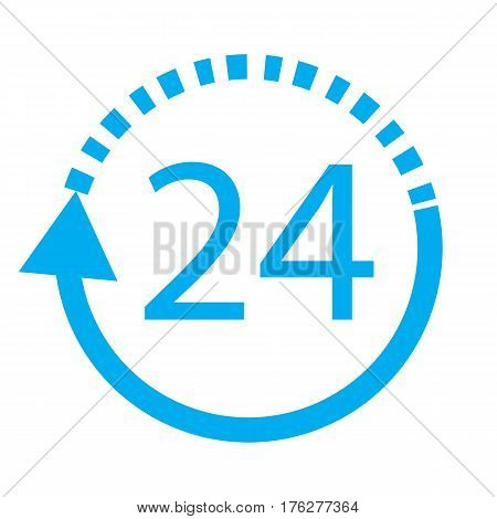 24 hours delivery on white background 24 hours delivery sign.