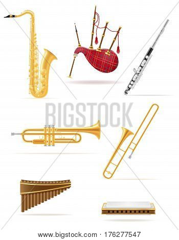 wind musical instruments set icons stock vector illustration isolated on white background