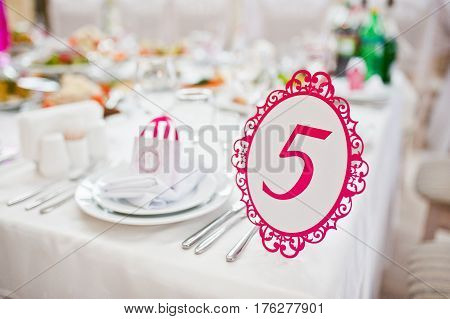 Wedding Guest Number Of Table 5 At Wedding Hall.