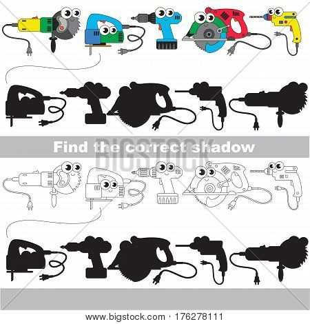 Funny power tools set with shadows to find the correct one. Compare and connect objects and their true shadows. Easy educational kid gaming.