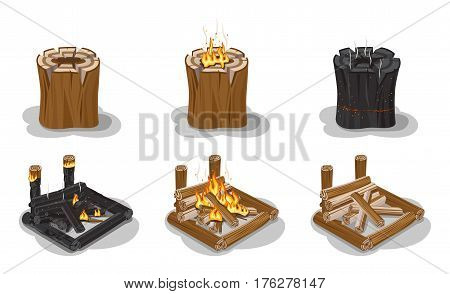 Campfire set isolated on white vector poster. Firewood put in square with and without flame, cleft stumps with fire or red sparks. Stages of making burning fire concept in flat realistic design.