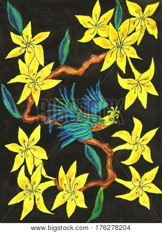 Bird on branch with yellow rhododendron flowers on black background painting in traditions of old Chinese art gouache.