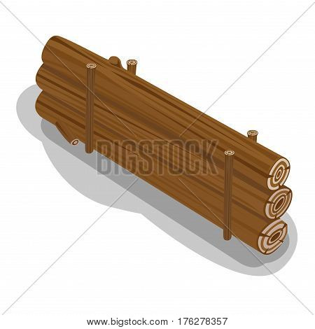 Billets in row prepared to make fire. Neatly stacked firewood with shadow on white background. Elements to make fire. Isolated vector illustration of logs laying on pallets in cartoon flat design