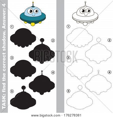 Ufo with different shadows to find the correct one. Compare and connect object with it true shadow. Easy educational kid gaming. Simple level of difficulty. Visual game for children.