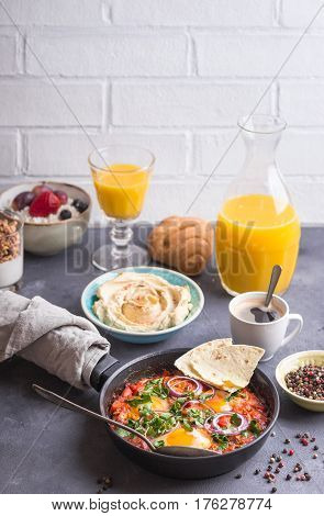Breakfast With Middle Eastern And European Food.