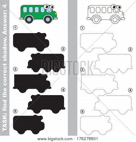 Bus with different shadows to find the correct one. Compare and connect object with it true shadow. Easy educational kid gaming. Simple level of difficulty. Visual game for children.