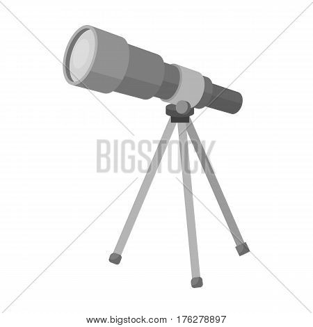 Telescope for schools. Device for astronomy. Device for inspection of the stars.School And Education single icon in monochrome style vector symbol stock web illustration.