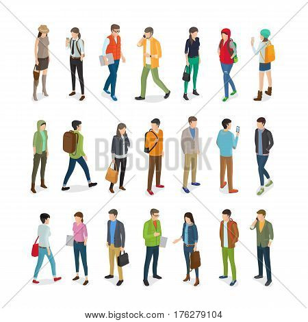 Teenagers students vector collection in flat style on white. Young people in casual clothes standing and walking with handbags or books and modern gadgets kinds. Busy student lifestyle concept.