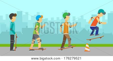Skateboarders boys in protective equipment and helmets jumping over orange traffic cone. Skateboard wearing protective gear. Summer vacation, healthy lifestyle, leisure activities. Urban background