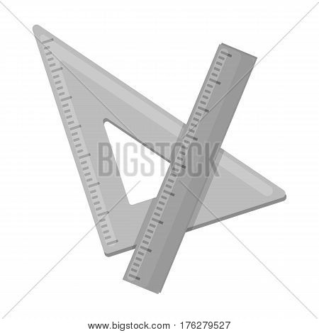 Ruler and triangle. Devices for school drawing.School And Education single icon in monochrome style vector symbol stock web illustration.