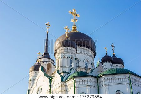 Domes of the Orthodox Church, Annunciation Cathedral in the center of Voronezh city