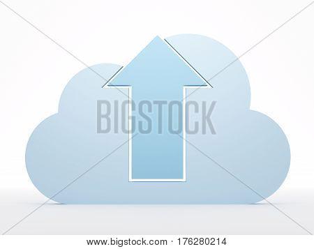 Blue cloud on white background. 3d rendered illustration. Cloud computing concept; uploading.