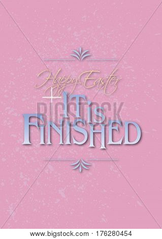 Graphic composition of Happy Easter Holiday message against pastel background and soft pink grunge pattern. Art is suitable for greeting card design and general holiday layouts.
