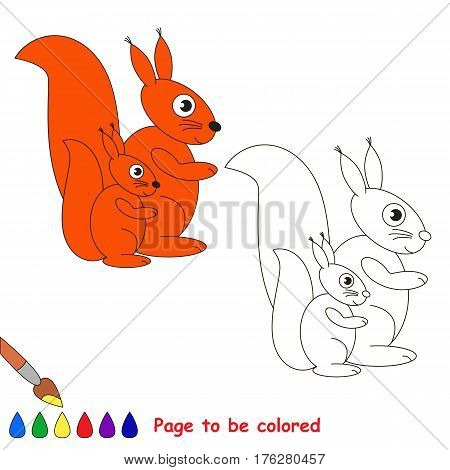 Squirrel and baby to be colored, the coloring book to educate preschool kids with easy kid educational gaming and primary education of simple game level.