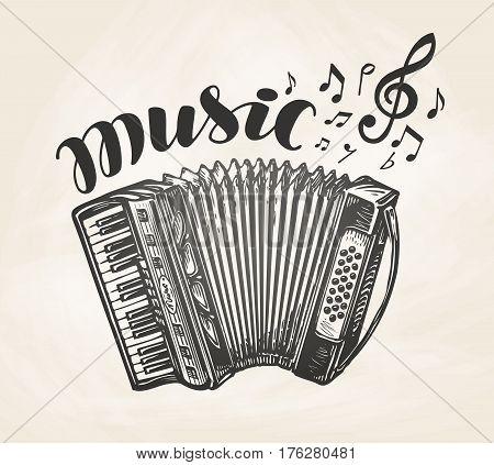 Classic accordion. Vintage musical instrument. Music symbol, vector illustration