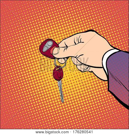 Man holding car keys. Hand hold keys. Hand with a car key. Key car.vector illustration. Hand holding and giving keys. Hand giving car keys. Concept idea of advertisement and promo. Halftone background