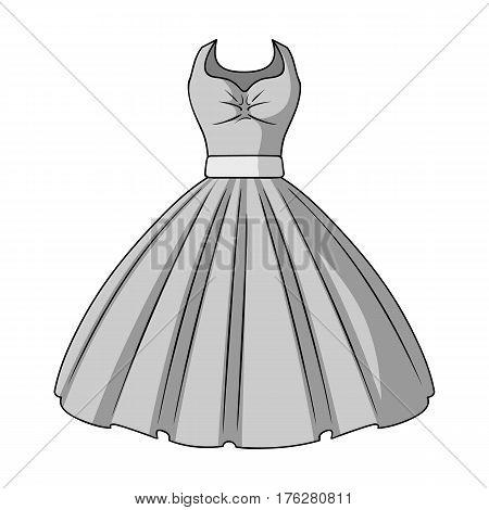 White fluffy wedding dress for a girl. Wedding wear.Women clothing single icon in monochrome style vector symbol stock web illustration.