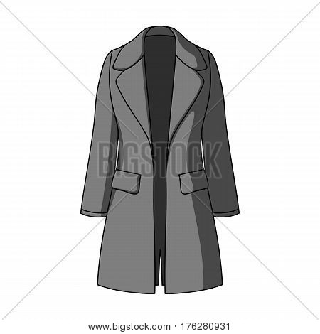Blue female restrained coat buttoned. Women s outerwear.Women clothing single icon in monochrome style vector symbol stock web illustration.