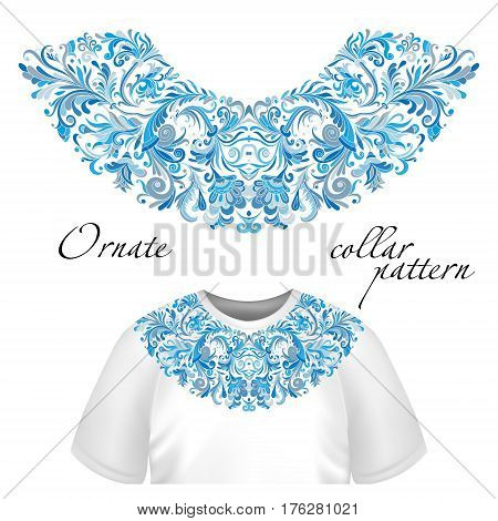 Vector design for collar t-shirts and blouses. Colorful ethnic flowers neck line. Embroidery for Fashion Blue version.