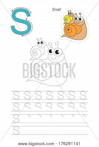 Vector illustrated worksheet. Learn handwriting. Gaming and education. Page to be traced. Easy educational kid game. Simple level. Complete eng alphabet. Tracing worksheet for letter S. Snail.