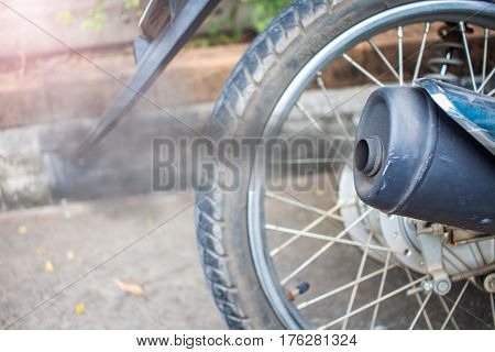 Smoke From Exhaust Tube Of A Motorcycle
