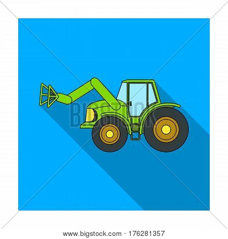 Combine with long hydraulic legs to capture the hay.Agricultural Machinery single icon in flat style vector symbol stock web illustration.