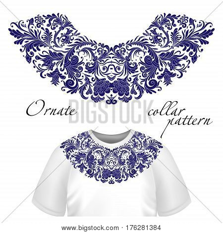 Vector design for collar shirts, shirts, blouses, T-shirt. One colors ethnic flowers neck. Paisley decorative border