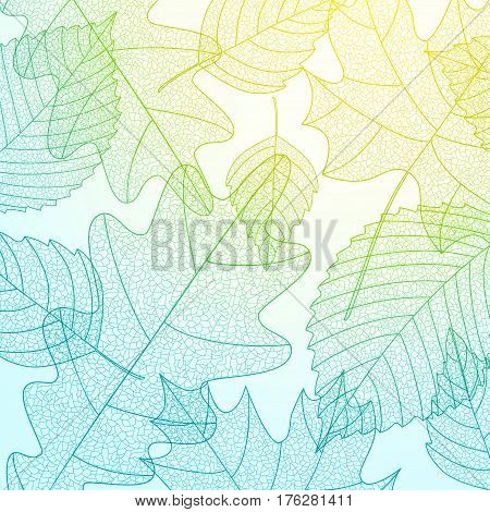 Background with macro leaves structure. Blue, green and yellow colors. Elm, maple and oak leaves. Vector illustration. Environment and ecology concept background.