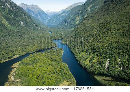 Aerial view on rivers at Milford Sound, New Zealand